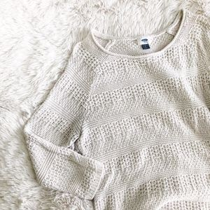 OLD NAVY ivory knitted 3/4 sleeve light top